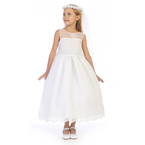 Embroidered White Dresses for Flower Girls