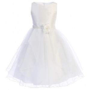 Tea Length White Dresses for Flower Girls