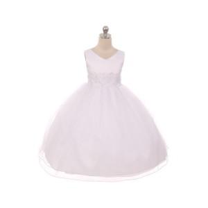 White Lace Trim Communion Dresses